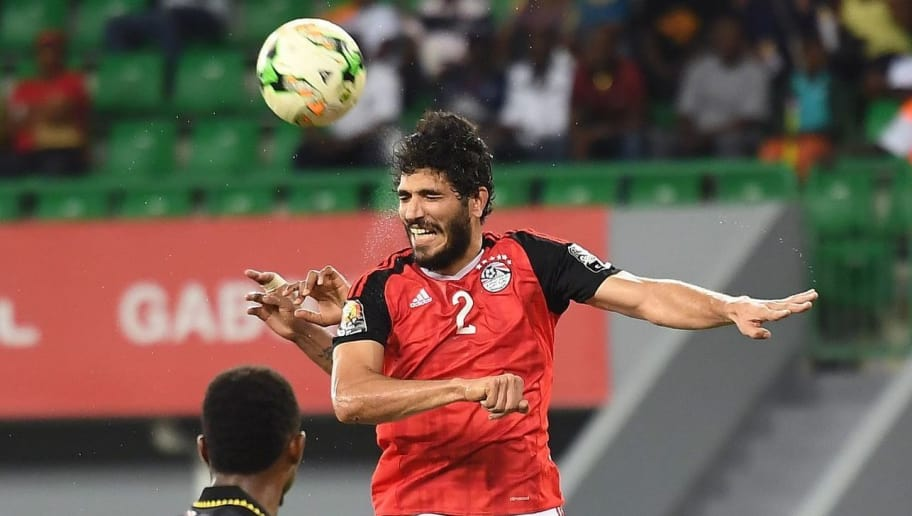 Egypt's defender Ali Gabr (C) heads the ball between Ghana's forward Jordan Ayew (L) and Ghana's midfielder Samuel Tetteh (R) during the 2017 Africa Cup of Nations group D football match between Egypt and Ghana in Port-Gentil on January 25, 2017. / AFP / Justin TALLIS        (Photo credit should read JUSTIN TALLIS/AFP/Getty Images)
