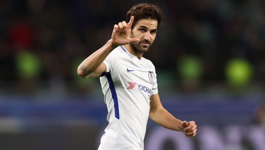 BAKU, AZERBAIJAN - NOVEMBER 22:  Cesc Fabregas of Chelsea celebrates after scoring his sides third goal during the UEFA Champions League group C match between Qarabag FK and Chelsea FC at Baki Olimpiya Stadionu on November 22, 2017 in Baku, Azerbaijan.  (Photo by Francois Nel/Getty Images)
