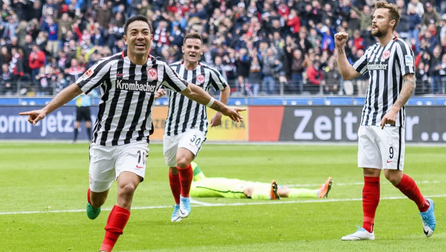 FRANKFURT AM MAIN, GERMANY - APRIL 22: Marco Fabian of Frankfurt celebrates the second goal for his team during the Bundesliga match between Eintracht Frankfurt and FC Augsburg at Commerzbank-Arena on April 22, 2017 in Frankfurt am Main, Germany. (Photo by Alexander Scheuber/Bongarts/Getty Images)