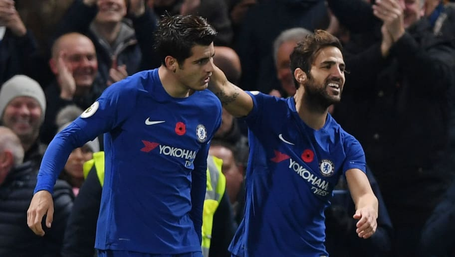 LONDON, ENGLAND - NOVEMBER 05: Alvaro Morata of Chelsea celebrates scoring his sides first goal with Cesc Fabregas of Chelsea during the Premier League match between Chelsea and Manchester United at Stamford Bridge on November 5, 2017 in London, England.  (Photo by Shaun Botterill/Getty Images)