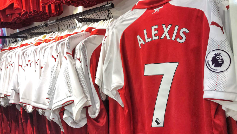 LONDON, ENGLAND - JANUARY 20: Alexis Sanchez of Arsenal's shirt is seen in the club shop prior to the Premier League match between Arsenal and Crystal Palace at Emirates Stadium on January 20, 2018 in London, England.  (Photo by Clive Rose/Getty Images)