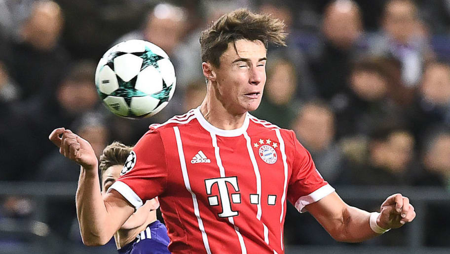 Bayern Munich's Austrian defender Marco Friedl heads the ball during the UEFA Champions League Group B football match between Anderlecht and Bayern Munich at Constant Vanden Stock Stadium in Brussels on November 22, 2017.  / AFP PHOTO / Emmanuel DUNAND        (Photo credit should read EMMANUEL DUNAND/AFP/Getty Images)