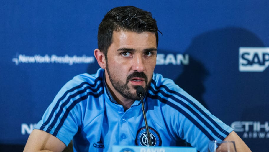 New York City FC player David Villa speaks to the media as he attends a press conference during the club's annual media day on March 9, 2017, in New York. / AFP PHOTO / EDUARDO MUNOZ ALVAREZ        (Photo credit should read EDUARDO MUNOZ ALVAREZ/AFP/Getty Images)