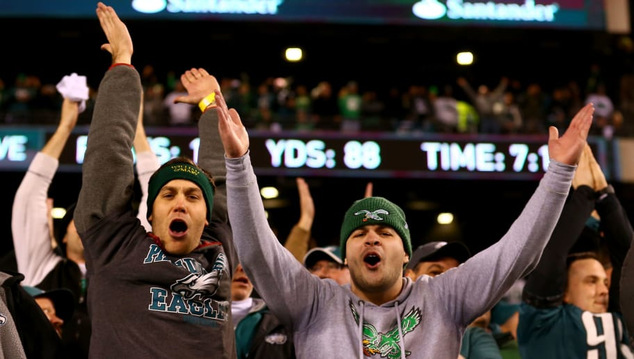 PHILADELPHIA, PA - JANUARY 21:  Philadelphia Eagles fans celebrate the teams win over the Minnesota Vikings in the NFC Championship game at Lincoln Financial Field on January 21, 2018 in Philadelphia, Pennsylvania. The Philadelphia Eagles defeated the Minnesota Vikings 38-7.  (Photo by Mitchell Leff/Getty Images)