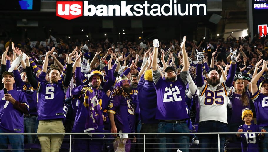 MINNEAPOLIS, MN - JANUARY 14:  Minnesota Vikings fans cheer after a touchdown against the New Orleans Saints in the NFC Divisional Playoff game at U.S. Bank Stadium on January 14, 2018 in Minneapolis, Minnesota.  (Photo by Jamie Squire/Getty Images)