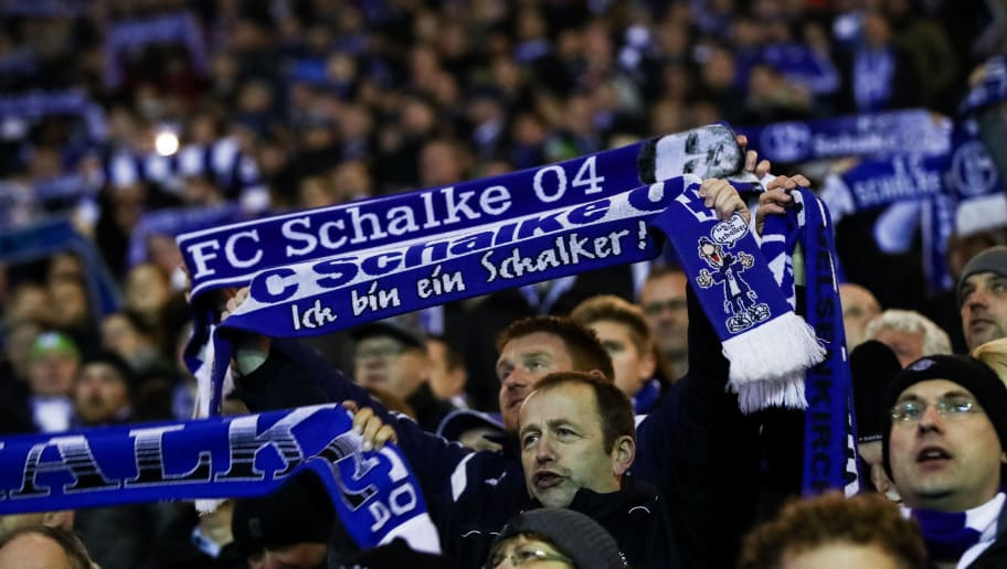 GELSENKIRCHEN, GERMANY - JANUARY 21: Fans of  Schalke prior the Bundesliga match between FC Schalke 04 and Hannover 96 at Veltins-Arena on January 21, 2018 in Gelsenkirchen, Germany. (Photo by Maja Hitij/Bongarts/Getty Images)