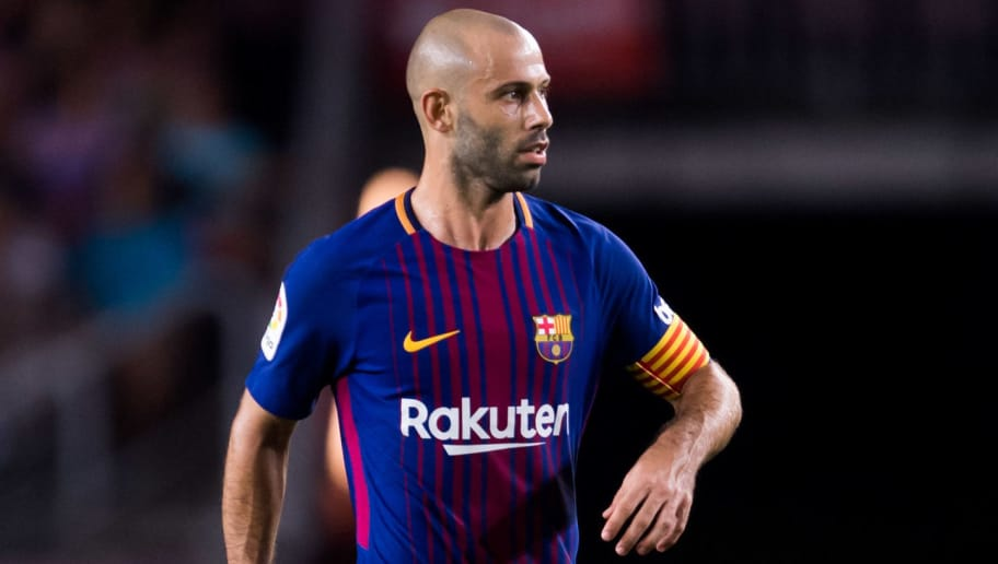 BARCELONA, SPAIN - AUGUST 07:  Javier Mascherano of FC Barcelona conducts the ball during the Joan Gamper Trophy match between FC Barcelona and Chapecoense at Camp Nou stadium on August 7, 2017 in Barcelona, Spain.  (Photo by Alex Caparros/Getty Images)