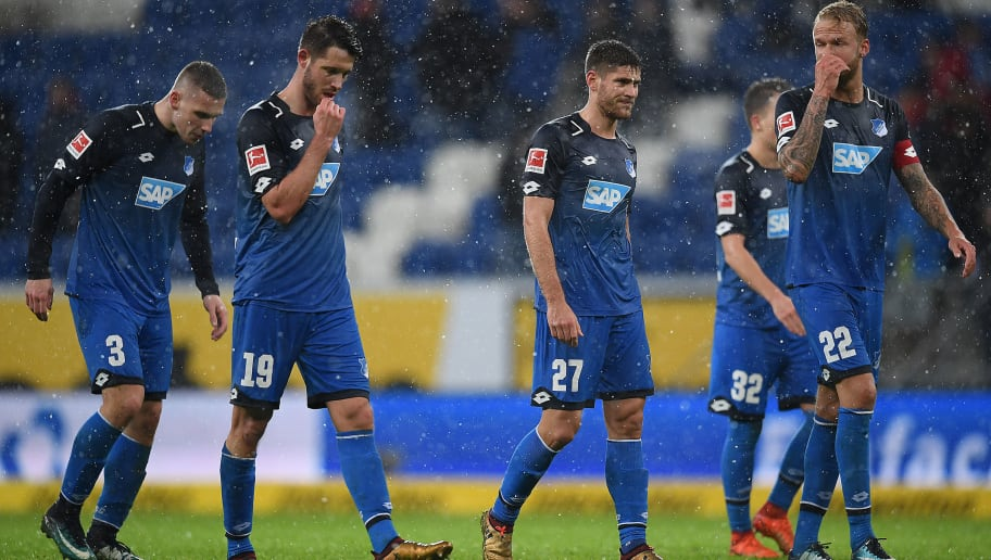 SINSHEIM, GERMANY - JANUARY 20: Players of Hoffenheim leave the pitch dejected after the Bundesliga match between TSG 1899 Hoffenheim and Bayer 04 Leverkusen at Wirsol Rhein-Neckar-Arena on January 20, 2018 in Sinsheim, Germany. (Photo by Matthias Hangst/Bongarts/Getty Images)