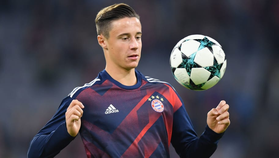 MUNICH, GERMANY - OCTOBER 18: Marco Friedl of FC Bayern Muenchen plays the ball during warum up prior to the UEFA Champions League group B match between Bayern Muenchen and Celtic FC at Allianz Arena on October 18, 2017 in Munich, Germany. (Photo by Sebastian Widmann/Bongarts/Getty Images )