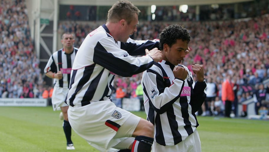 BIRMINGHAM, ENGLAND - MAY 15:  Kieran Richardson of West Brom celebrates scoring their second goal with Geoff Horsfield during the Barclays Premiership match between West Bromwich Albion and Portsmouth at The Hawthorns on May 15, 2005 in Birmingham, England.  (Photo by Laurence Griffiths/Getty Images)
