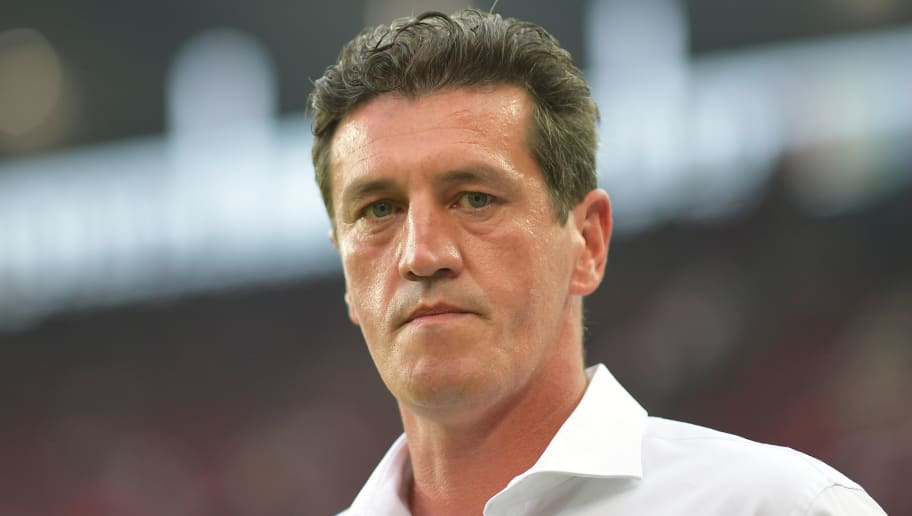 COLOGNE, GERMANY - AUGUST 25: Jens Todt, sporting director of Hamburg, during the Bundesliga match between 1. FC Koeln and Hamburger SV at RheinEnergieStadion on August 25, 2017 in Cologne, Germany. (Photo by Lukas Schulze/Bongarts/Getty Images)