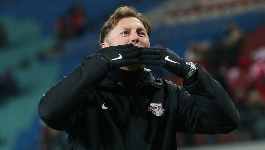 LEIPZIG, GERMANY - JANUARY 13: Coach Ralph Hasenhuettl of Leipzig blows kisses to the supporters after the Bundesliga match between RB Leipzig and FC Schalke 04 at Red Bull Arena on January 13, 2018 in Leipzig, Germany. (Photo by Ronny Hartmann/Bongarts/Getty Images)