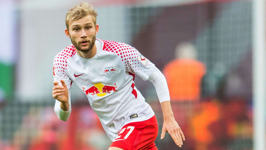 Leipzig's Austrian midfielder Konrad Laimer plays the ball during the German first division Bundesliga football match RB Leipzig vs Hannover 96 in Leipzig, eastern Germany, on November 4, 2017. / AFP PHOTO / ROBERT MICHAEL / RESTRICTIONS: DURING MATCH TIME: DFL RULES TO LIMIT THE ONLINE USAGE TO 15 PICTURES PER MATCH AND FORBID IMAGE SEQUENCES TO SIMULATE VIDEO. == RESTRICTED TO EDITORIAL USE == FOR FURTHER QUERIES PLEASE CONTACT DFL DIRECTLY AT + 49 69 650050         (Photo credit should read ROBERT MICHAEL/AFP/Getty Images)