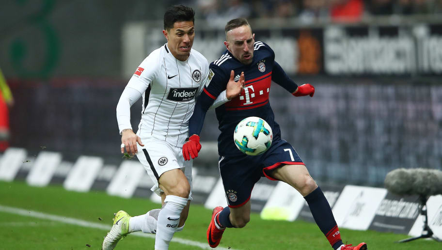 FRANKFURT AM MAIN, GERMANY - DECEMBER 09: Carlos Salcedo of Frankfurt (l) fights for the ball with Franck Ribery of Bayern Muenchen during the Bundesliga match between Eintracht Frankfurt and FC Bayern Muenchen at Commerzbank-Arena on December 9, 2017 in Frankfurt am Main, Germany. (Photo by Alex Grimm/Bongarts/Getty Images)