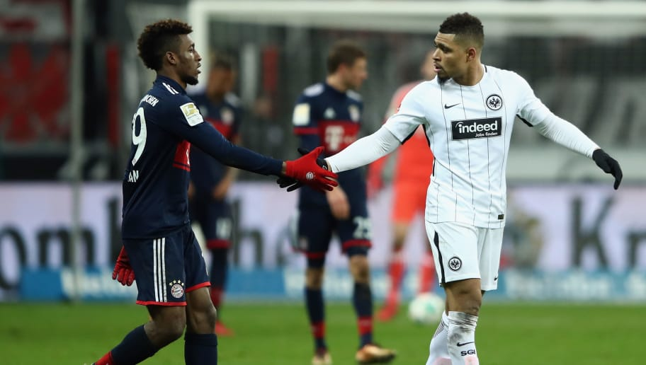 FRANKFURT AM MAIN, GERMANY - DECEMBER 09: Kingsley Coman of Muenchen and Simon Falette of Frankfurt shake hands during the Bundesliga match between Eintracht Frankfurt and FC Bayern Muenchen at Commerzbank-Arena on December 9, 2017 in Frankfurt am Main, Germany.  (Photo by Alex Grimm/Bongarts/Getty Images)