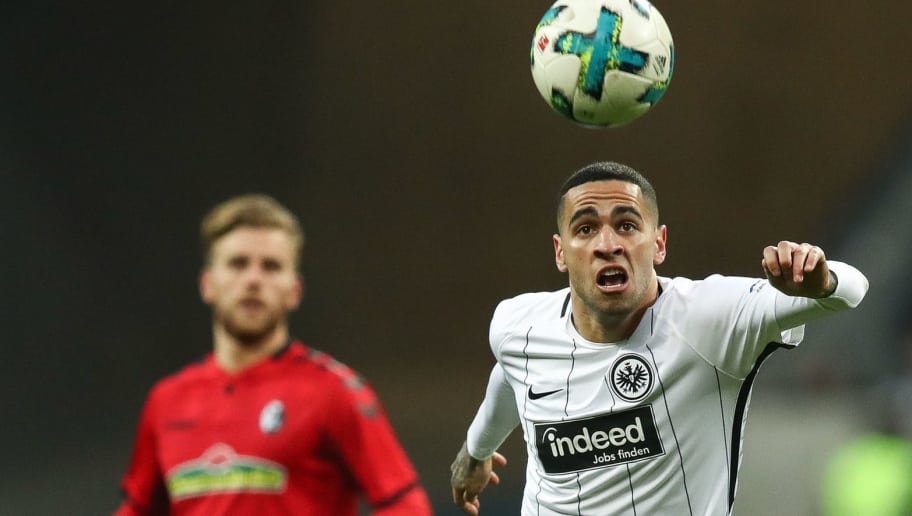FRANKFURT AM MAIN, GERMANY - JANUARY 13: Omar Mascarell #39 of Eintracht Frankfurt controls the ball during the Bundesliga match between Eintracht Frankfurt and Sport-Club Freiburg at Commerzbank-Arena on January 13, 2018 in Frankfurt am Main, Germany. (Photo by Maja Hitij/Bongarts/Getty Images)