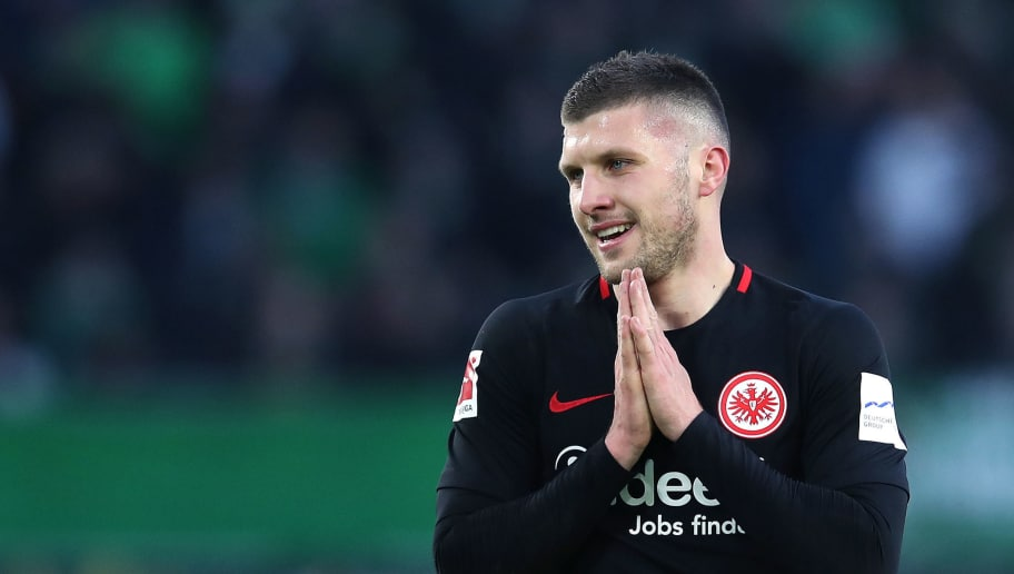 WOLFSBURG, GERMANY - JANUARY 20: Ante Rebic of Frankfurt reacts during the Bundesliga match between VfL Wolfsburg and Eintracht Frankfurt at Volkswagen Arena on January 20, 2018 in Wolfsburg, Germany. (Photo by Ronny Hartmann/Bongarts/Getty Images)