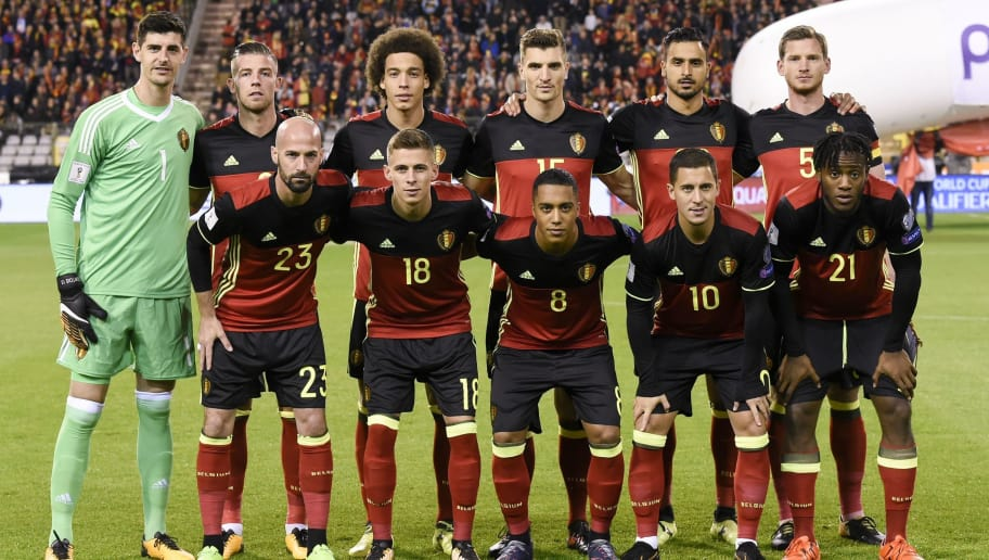 c0a30a7a87d Belgium's national football team players pose for a picture prior to the FIFA  World Cup 2018