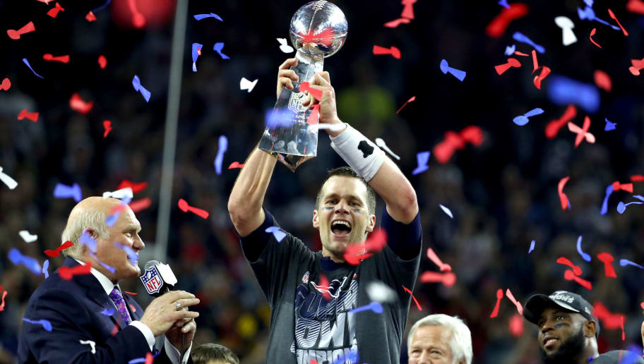 HOUSTON, TX - FEBRUARY 05:  Tom Brady #12 of the New England Patriots celebrates after the Patriots celebrates after the Patriots defeat the Atlanta Falcons 34-28  during Super Bowl 51 at NRG Stadium on February 5, 2017 in Houston, Texas.  (Photo by Al Bello/Getty Images)