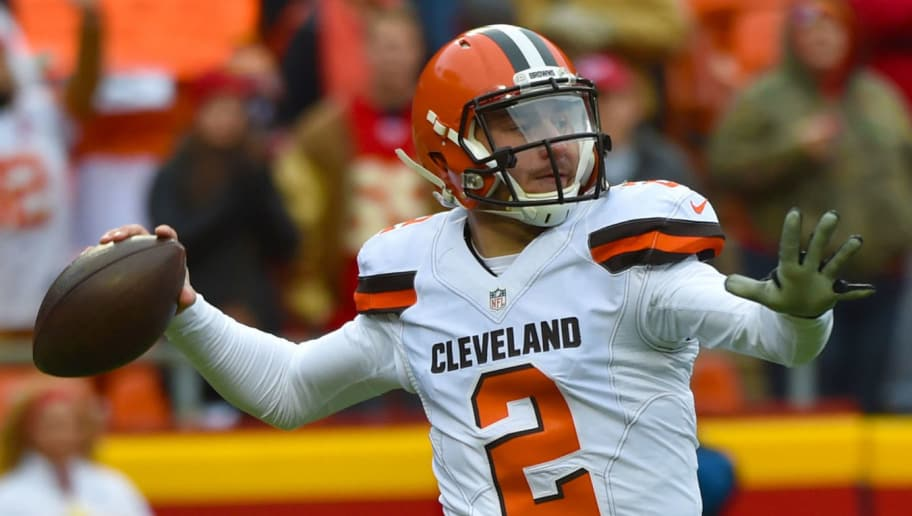KANSAS CITY, MO - DECEMBER 27:  Johnny Manziel #2 of the Cleveland Browns throws a pass at Arrowhead Stadium during the first quarter of the game on December 27, 2015 in Kansas City, Missouri. (Photo by Peter Aiken/Getty Images)