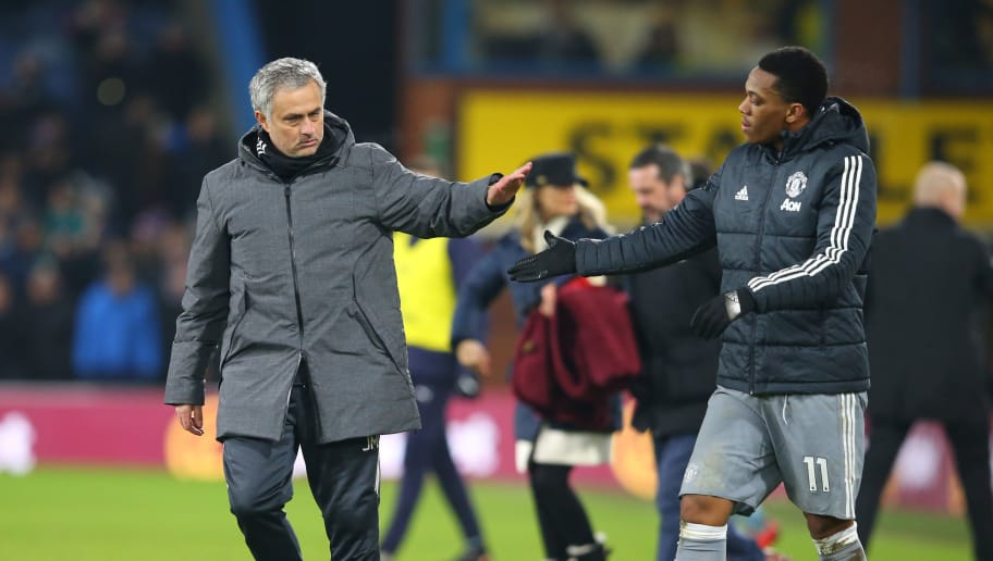 BURNLEY, ENGLAND - JANUARY 20: Jose Mourinho, Manager of Manchester United and Anthony Martial of Manchester United celebrate victory after the Premier League match between Burnley and Manchester United at Turf Moor on January 20, 2018 in Burnley, England.  (Photo by Alex Livesey/Getty Images)