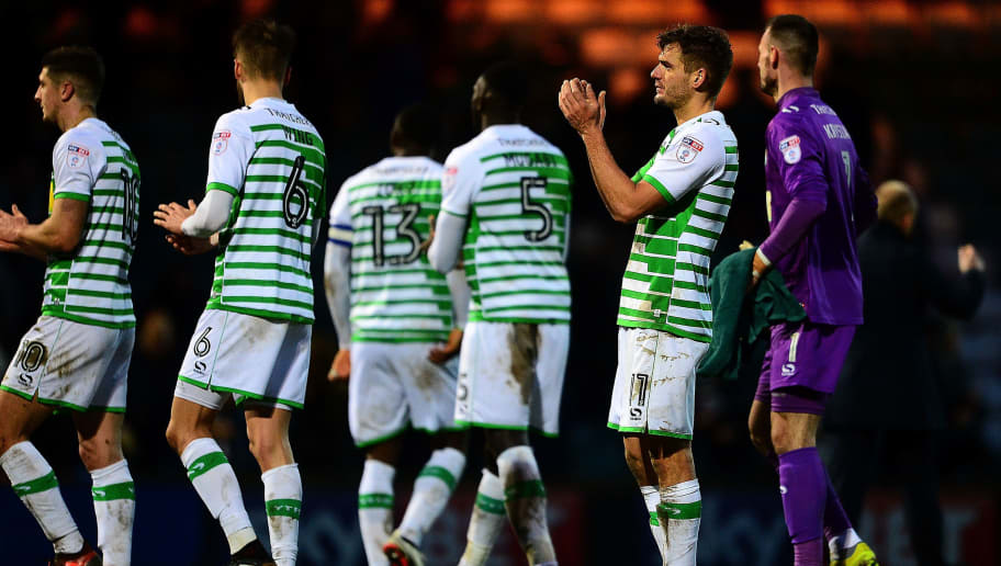 YEOVIL, ENGLAND - JANUARY 20: The Yeovil Town players applaude the fans at the final whistle during the Sky Bet League Two match between Yeovil Town and Chesterfield at Huish Park on January 20, 2018 in Yeovil, England. (Photo by Harry Trump/Getty Images)