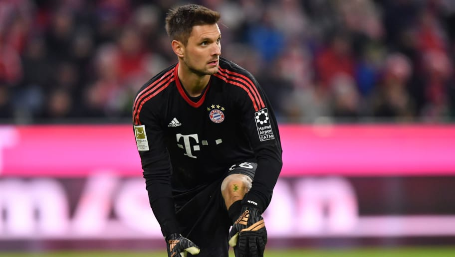 MUNICH, GERMANY - JANUARY 21: Goalkeeper Sven Ulreich of Bayern Muenchen kneels during the Bundesliga match between FC Bayern Muenchen and SV Werder Bremen at Allianz Arena on January 21, 2018 in Munich, Germany. (Photo by Sebastian Widmann/Bongarts/Getty Images)