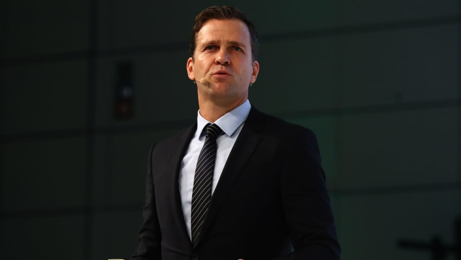 FRANKFURT AM MAIN, GERMANY - DECEMBER 08:  German national team manager Oliver Bierhoff talks to the audience during the Extraordinary DFB Bundestag at Messe Frankfurt on December 8, 2017 in Frankfurt am Main, Germany.  (Photo by Alexander Hassenstein/Bongarts/Getty Images)