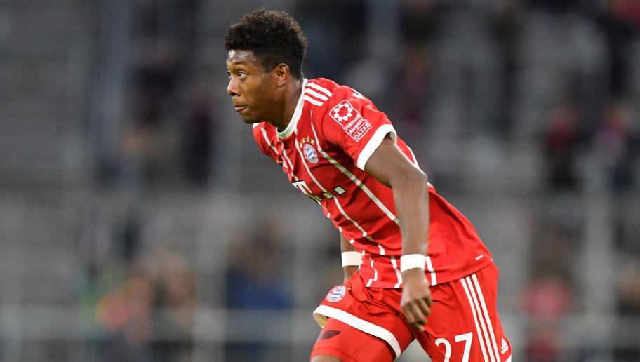 MUNICH, GERMANY - JANUARY 09: David Alaba of Bayern Muenchen plays the ball during the friendly match between Bayern Muenchen and SG Sonnenhof Grossaspach at Allianz Arena on January 9, 2018 in Munich, Germany. (Photo by Sebastian Widmann/Bongarts/Getty Images)