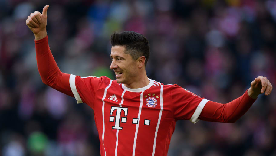 MUNICH, GERMANY - JANUARY 21: Robert Lewandowksi of FC Bayern Muenchen gestures during the Bundesliga match between FC Bayern Muenchen and SV Werder Bremen at Allianz Arena on January 21, 2018 in Munich, Germany. (Photo by Matthias Hangst/Bongarts/Getty Images)