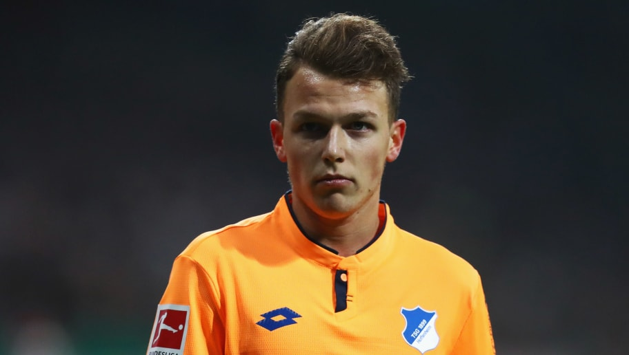 BREMEN, GERMANY - JANUARY 13:  Dennis Geiger of TSG 1899 Hoffenheim looks on during the Bundesliga match between SV Werder Bremen and TSG 1899 Hoffenheim at Weserstadion on January 13, 2018 in Bremen, Germany.  (Photo by Dean Mouhtaropoulos/Bongarts/Getty Images)