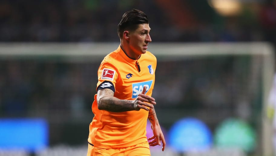 BREMEN, GERMANY - JANUARY 13:  Steven Zuber of TSG 1899 Hoffenheim in action during the Bundesliga match between SV Werder Bremen and TSG 1899 Hoffenheim at Weserstadion on January 13, 2018 in Bremen, Germany.  (Photo by Dean Mouhtaropoulos/Bongarts/Getty Images)