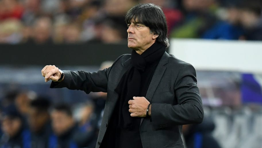 COLOGNE, GERMANY - NOVEMBER 14:  Joachim Loew, Manager of of Germany looks on during the international friendly match between Germany and France at RheinEnergieStadion on November 14, 2017 in Cologne, Germany.  (Photo by Matthias Hangst/Bongarts/Getty Images)