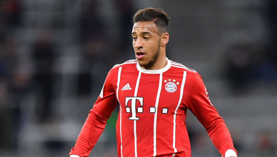 MUNICH, GERMANY - JANUARY 09: Corentin Tolisso of Bayern Muenchen plays the ball during the friendly match between Bayern Muenchen and SG Sonnenhof Grossaspach at Allianz Arena on January 9, 2018 in Munich, Germany. (Photo by Sebastian Widmann/Bongarts/Getty Images)