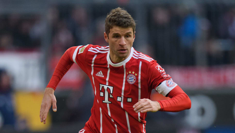 MUNICH, GERMANY - JANUARY 21: Thomas Mueller of FC Bayern Muenchen controls the ball during the Bundesliga match between FC Bayern Muenchen and SV Werder Bremen at Allianz Arena on January 21, 2018 in Munich, Germany. (Photo by Matthias Hangst/Bongarts/Getty Images)