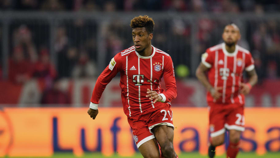 MUNICH, GERMANY - JANUARY 21: Kingsley Coman of FC Bayern Muenchen controls the ball during the Bundesliga match between FC Bayern Muenchen and SV Werder Bremen at Allianz Arena on January 21, 2018 in Munich, Germany. (Photo by Matthias Hangst/Bongarts/Getty Images)