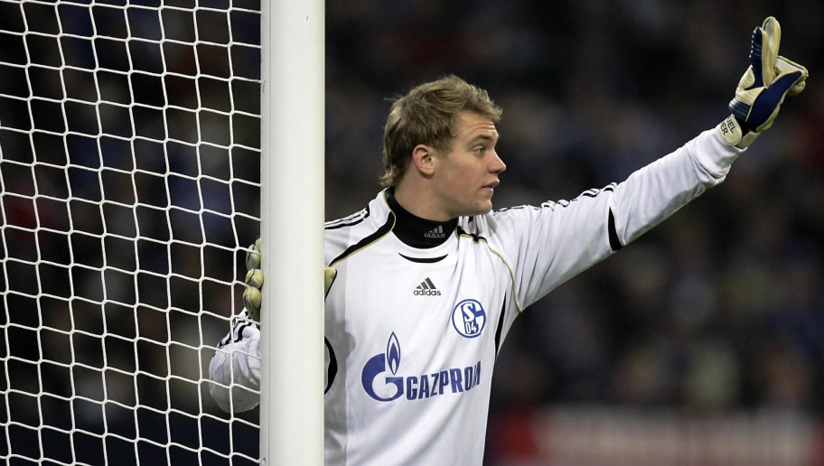 Schalke's goalkeeper Manuel Neuer gestures during the Champions League group B football match of FC Schalke 04 vs FC Chelsea 06 November 2007 a the Veltins Arena stadium in Gelsenkirchen, western Germany. The match ended 0-0.    AFP PHOTO    DDP/SASCHA SCHUERMANN    GERMANY OUT (Photo credit should read SASCHA SCHUERMANN/AFP/Getty Images)