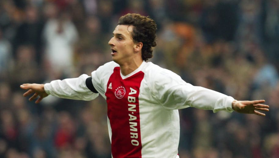 AMSTERDAM, NETHERLANDS:  Swedish forward Zlatan Ibrahimovic of Ajax Amsterdam celebrates after scoring against Vitesse Arnhem during their Dutch premier league match in Amsterdam, 21 March 2004. Ajax defeated Vitesse by 5-0. Ibrahimovic scored the 5th goal.   AFP PHOTO Continental  (Photo credit should read -/AFP/Getty Images)