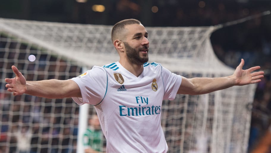 MADRID, SPAIN - JANUARY 24:  Karim Benzema of Real Madrid celebrates after scoring his teamÕs opening goal during the Copa del Rey, Quarter Final, Second Leg match between Real Madrid and Leganes at the Santiago Bernabeu stadium on January 24, 2018 in Madrid, Spain. (Photo by Denis Doyle/Getty Images)
