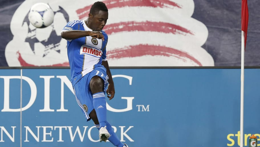 FOXBORO, MA - SEPTEMBER 01:  Freddy Adu #11 of Philadelphia Union takes a corner kick against the New England Revolution during the second half at Gillette Stadium on September 1, 2012 in Foxboro, Massachusetts.  (Photo by Winslow Townson/Getty Images)