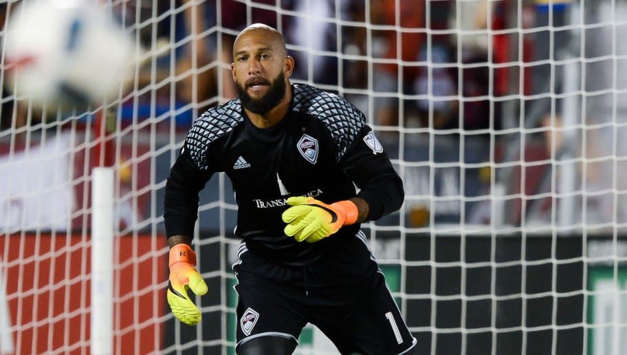 COMMERCE CITY, CO - JULY 23: Tim Howard #1 of the Colorado Rapids stands in the goal against the FC Dallas at Dick's Sporting Goods Park on July 23, 2016 in Commerce City, Colorado. (Photo by Dustin Bradford/Getty Images)