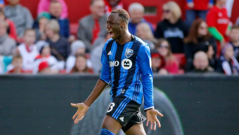BRIDGEVIEW, IL - APRIL 01: Ballou Tabla #13 of Montreal Impact celebrates after scoring a goal against the Chicago Fire during the second half at Toyota Park on April 1, 2017 in Bridgeview, Illinois. The match ended in a 2-2 draw.  (Photo by Jon Durr/Bongarts/Getty Images)