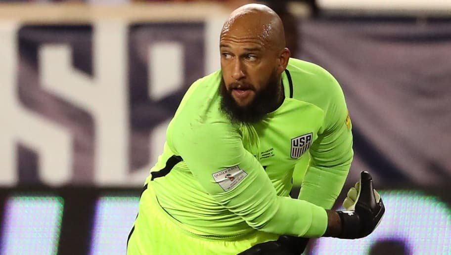 HARRISON, NJ - SEPTEMBER 01: Tim Howard #1 of the United States throws the ball against Costa Rica during the FIFA 2018 World Cup Qualifier at Red Bull Arena on September 1, 2017 in Harrison, New Jersey.  (Photo by Mike Lawrie/Getty Images)