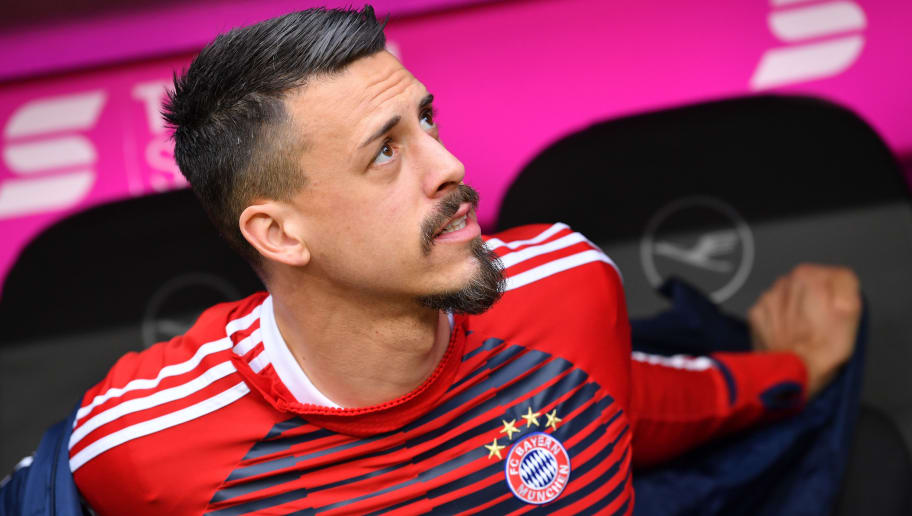 MUNICH, GERMANY - JANUARY 27: Sandro Wagner of  Muenchen looks on prior to the Bundesliga match between FC Bayern Muenchen and TSG 1899 Hoffenheim at Allianz Arena on January 27, 2018 in Munich, Germany. (Photo by Sebastian Widmann/Bongarts/Getty Images)