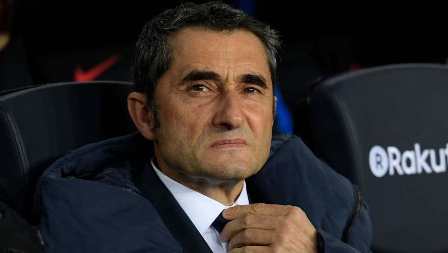 Barcelona's Spanish coach Ernesto Valverde attends the Spanish 'Copa del Rey' (King's cup) quarter-final second leg football match between FC Barcelona and RCD Espanyol at the Camp Nou stadium in Barcelona on January 25, 2018.  / AFP PHOTO / LLUIS GENE        (Photo credit should read LLUIS GENE/AFP/Getty Images)