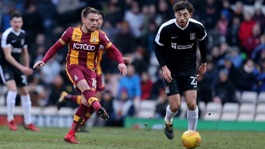 BRADFORD, ENGLAND - JANUARY 13:   Paul Taylor of Bradford City plays the ball during the Sky Bet League One match between Bradford City and Northampton Town at Northern Commercials Stadium, Valley Parade on January 13, 2018 in Bradford, England.  (Photo by Pete Norton/Getty Images)