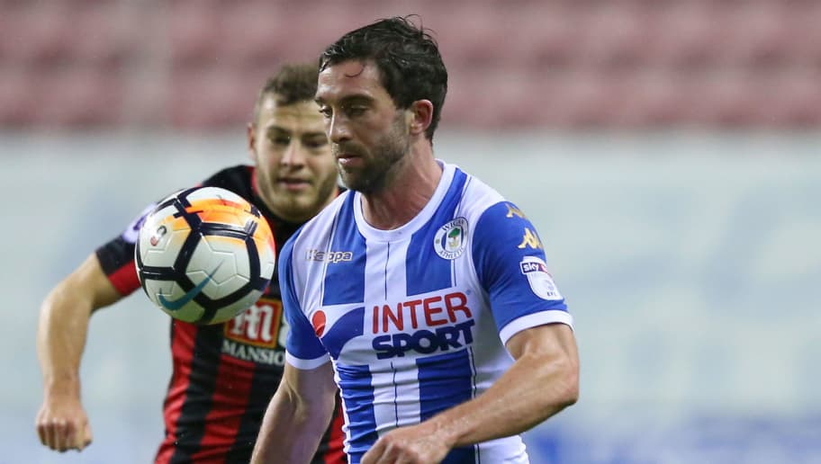 WIGAN, ENGLAND - JANUARY 17:  Will Grigg of Wigan Athletic in action during The Emirates FA Cup Third Round Replay between Wigan and AFC Bournemouth at DW Stadium on January 17, 2018 in Wigan, England.  (Photo by Alex Livesey/Getty Images)