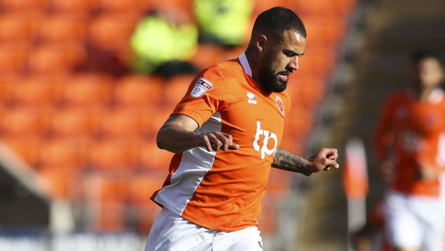 BLACKPOOL, ENGLAND - MAY 14: Kyle Vassell of Blackpool during the Sky Bet League Two match between Blackpool and Luton Town at Bloomfield Road on May 14, 2017 in Blackpool, England. (Photo by Mark Robinson/Getty Images)