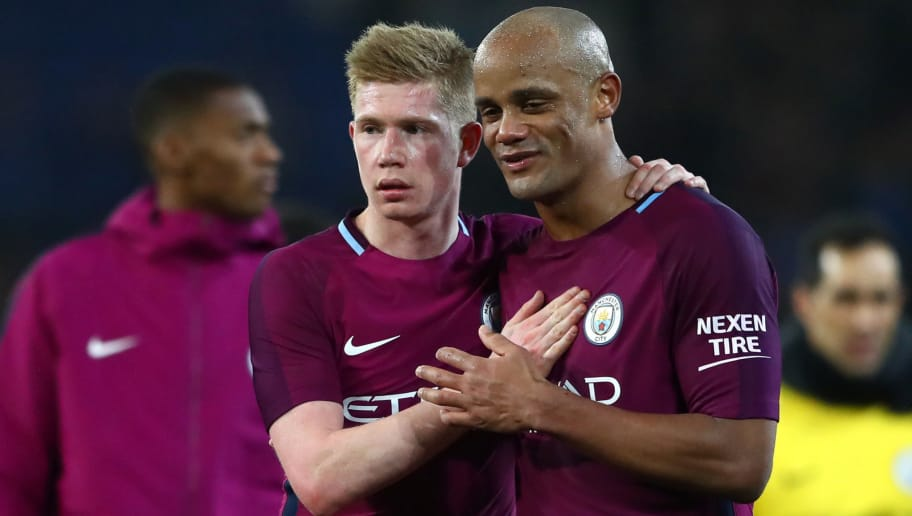 CARDIFF, WALES - JANUARY 28:  Kevin De Bruyne talks to Vincent Kompany of Manchester City after The Emirates FA Cup Fourth Round match between Cardiff City and Manchester City on January 28, 2018 in Cardiff, United Kingdom.  (Photo by Michael Steele/Getty Images)