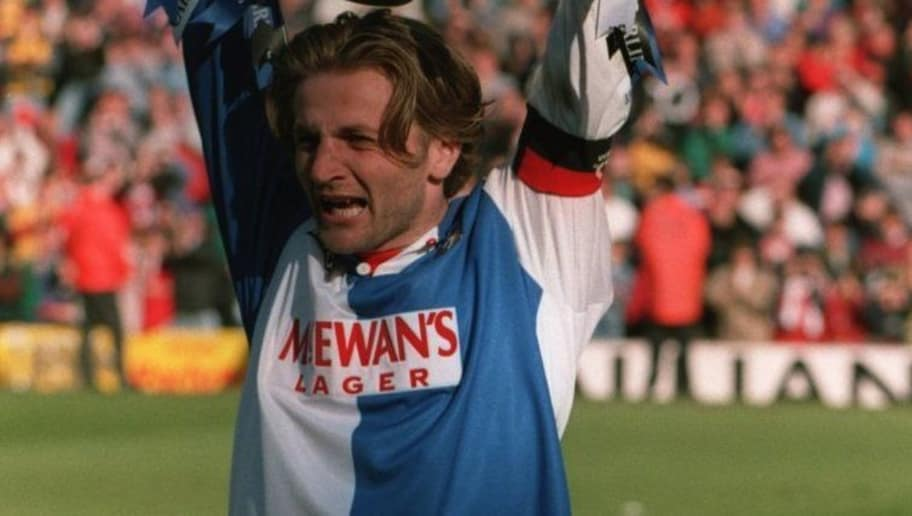 14 MAY 1994:  CAPTAIN TIM SHERWOOD OF BLACKBURN LIFTS THE LEAGUE TROPHY AFTER BLACKBURN LOST THEIR FA CARLING PREMIERSHIP MATCH AGAINST LIVERPOOL 2-1 BUT WIN THE LEAGUE TROPHY . Mandatory Credit: Allsport UK/ALLSPORT